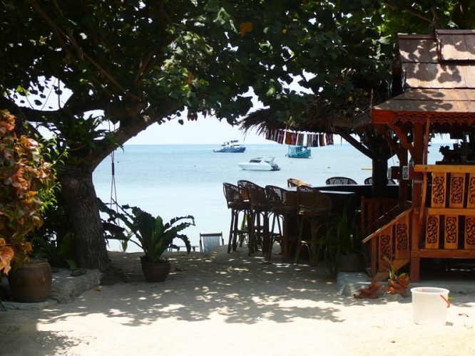 Mae Haad beach harbor and village of Koh Tao Thailand